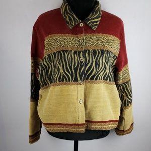 TANTRUMS Mixed Animal Print Button Down Jacket